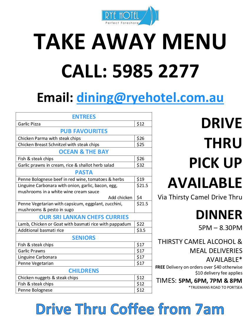 Takeaway menu March 2020